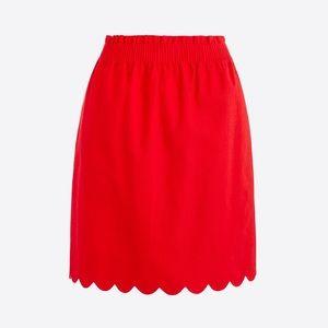 J Crew Scalloped Sidewalk Skirt, Red NWT